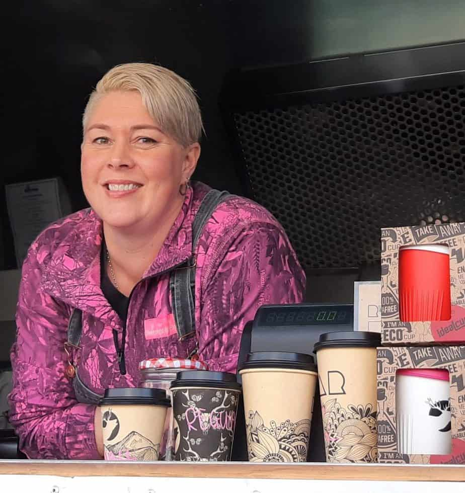 Kylie Sutton in the Coffee Bomb Food Trailer at Garston Villagef