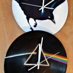 Clocks made out of vinyl records.