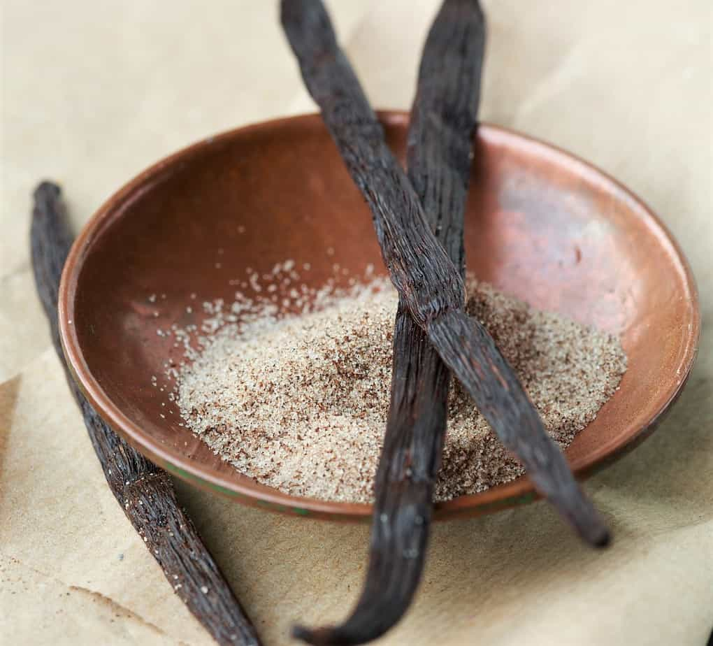 Dried Vanilla Beans on a plate.