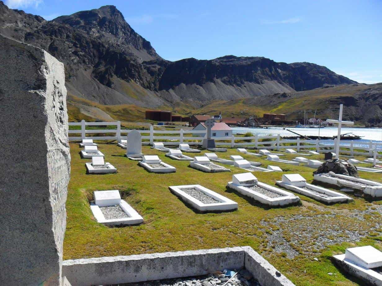 The little cemetery and Shackleton's grave at South Georgia Island.