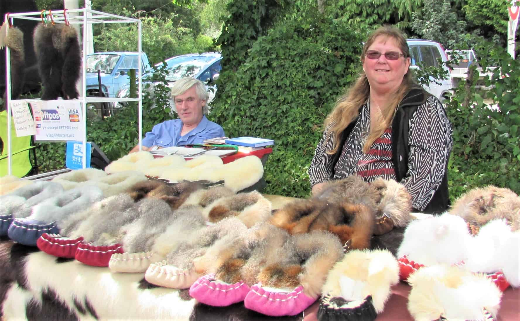Rob, Jan and slippers at the Athol Valley Market.