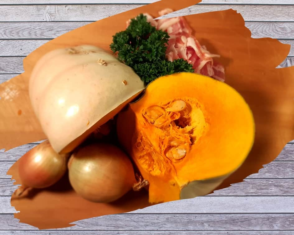 Pumpkin, bacon, parsley, onions: ingredients in my extra-special pumpkin soup.