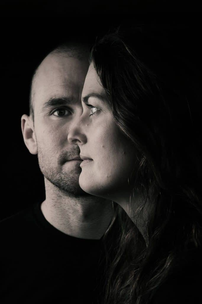 Artistic, black and white, head-and-shoulders shot of Mel and James Jubb.