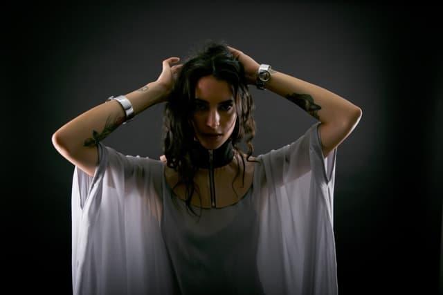 Model wearing a flowing top designed by Kingston fashion designer Jane Sutherland.