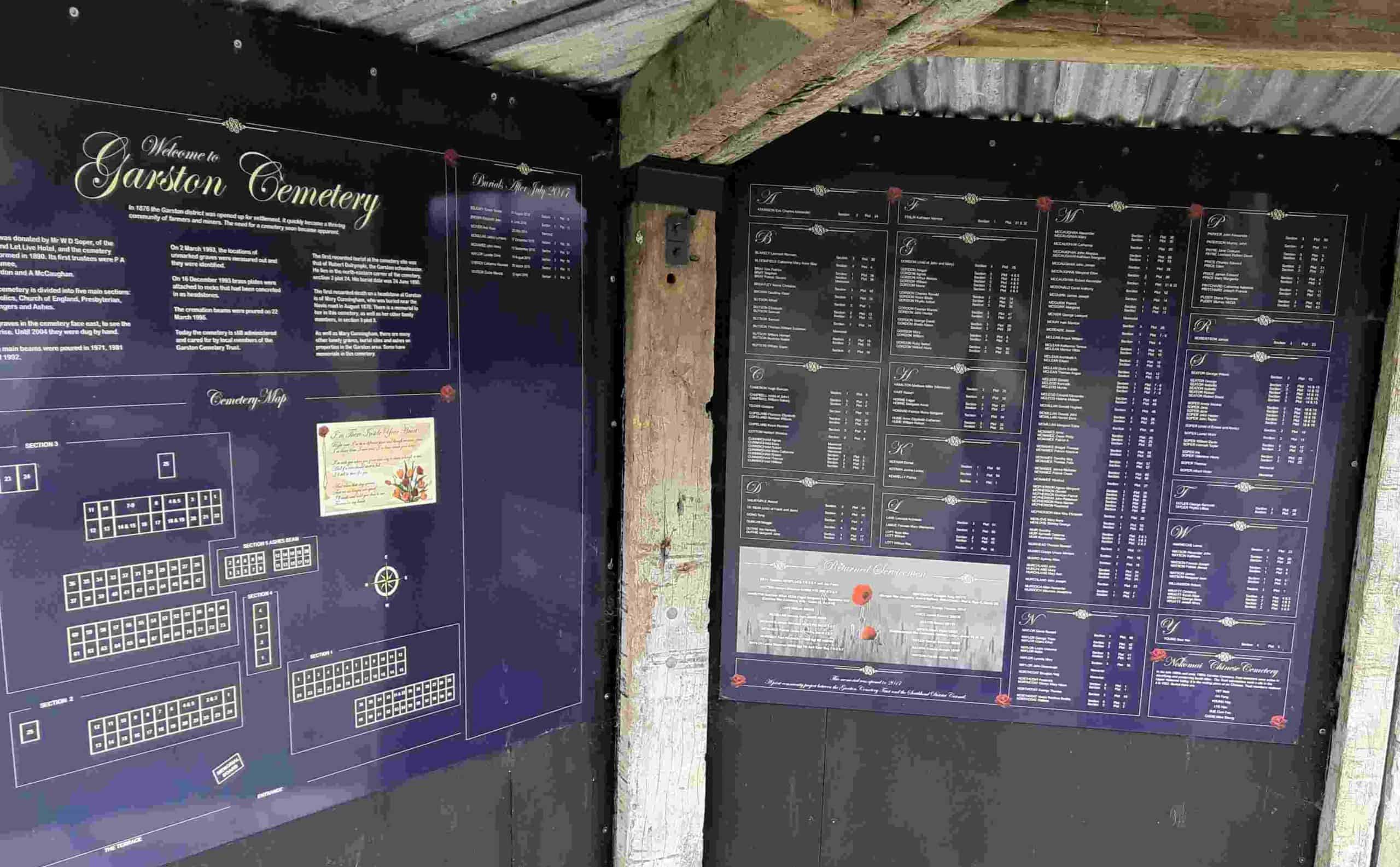 The gold and purple memorial boards at Garston.