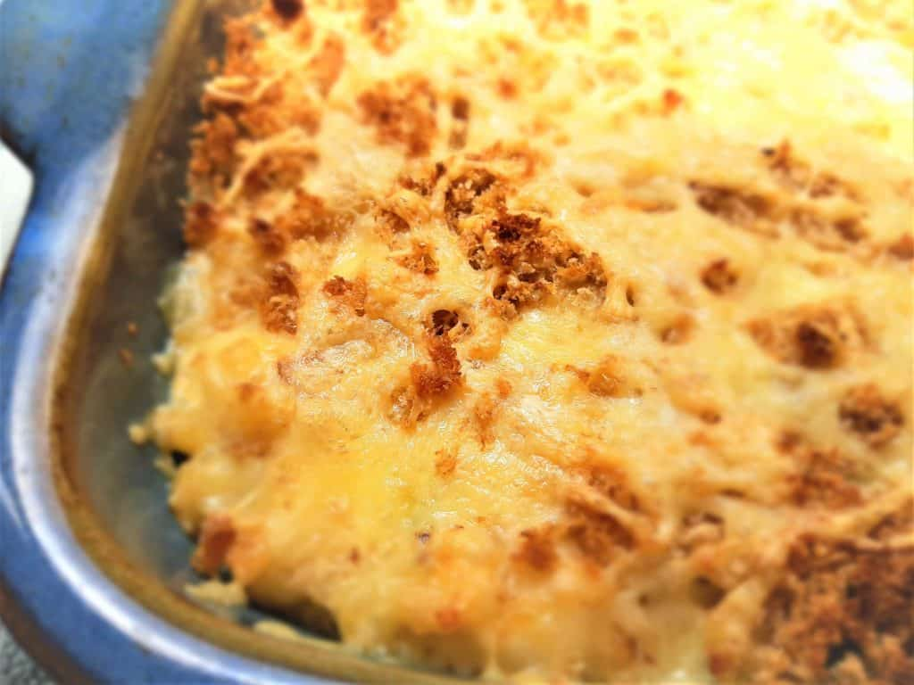 Macaroni cheese, cooked and golden,