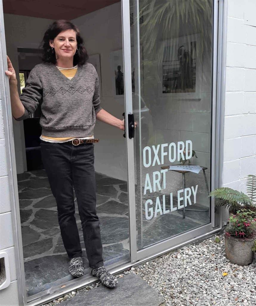 Philippa O'Brien in the doorway of her Oxford Art Gallery in Kingston.
