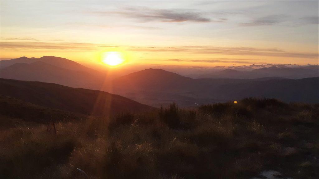 Sunset over the southern mountains, taken from the Garston ski hut .